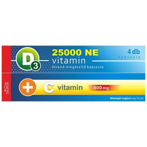 D3-vitamin 25 000 NE + C-vitamin 800 mg kapszula (4db) - 1 hónapos kiszerelés
