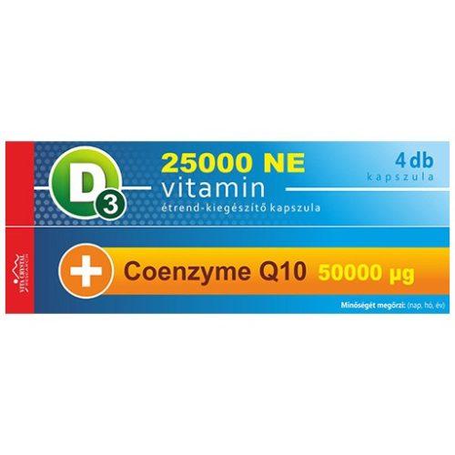 D3-vitamin 25 000NE heti 1 kapszula 50 000 mikrogramm Q10 1 hónapos kiszerelés