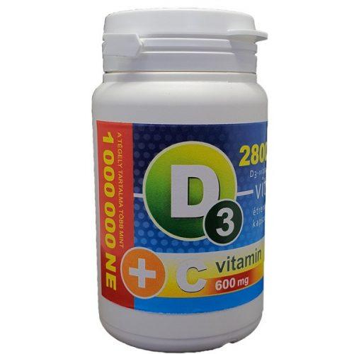 D3-vitamin 28 000 NE + C-vitamin 600 mg kapszula (36db)