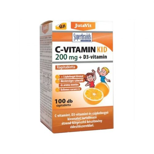 JutaVit C-vitamin KID 200mg + D3-vitamin rágótabletta 100x